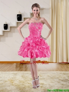 2015 Beautiful Strapless Prom Dresses with Ruffles and Beading