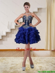 2015 Navy Blue Sweetheart Short Prom Dresses with Beading and Embroidery