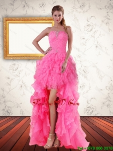 2015 Perfect Baby Pink Strapless Prom Dreses with Beading and Ruffled Layers