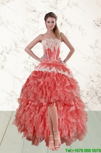 2015 Perfect High Low Ruffles Strapless Prom Dresses in Watermelon