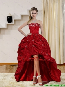 2015 Pretty Strapless Red Prom Dresses with Embroidery and Pick Ups