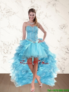 Baby Blue Sweetheart High Low Prom Dresses with Ruffles and Beading
