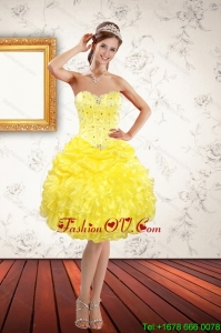 Beautiful Sweetheart Yellow Prom Dresses with Beading and Ruffles for 2015 Spring