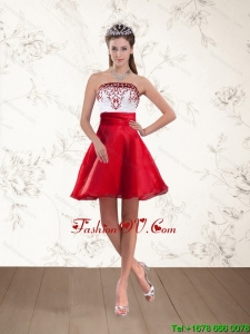 Cheap Strapless White And Wine Red Prom Dresses with Embroidery