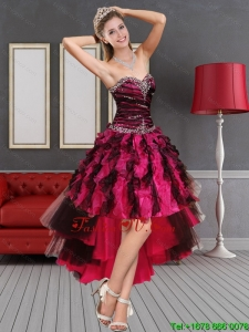 Multi Color High Low Sweetheart Prom Dresses with Beading and Ruffles