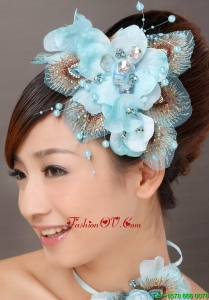 Popular Light Blue Taffeta Tulle Feather Beading Women Fascinators