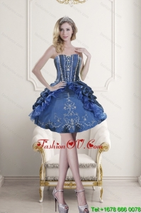 Popular Sweetheart Blue Embroidery and Beading Prom Dresses for 2015