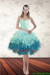 Pretty Multi Color Sweetheart Prom Gown with Beading and Ruffles