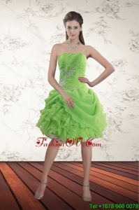 Spring Green Strapless Prom Dresses with Ruffles and Beading