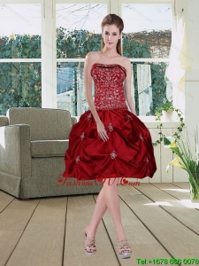 Wine Red Pretty Strapless 2015 Prom Dresses with Embroidery