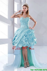 Discount Beaded Sweetheart High Low Ruffles Prom Dresses for 2015