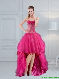 High Low Sweetheart Hot Pink 2015 Prom Dress with Embroidery and Beading