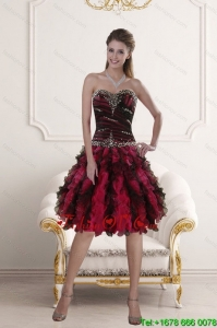 Sweetheart Multi Color Prom Gown with Ruffles and Beading