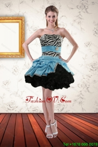 Zebra Printed Strapless Prom Gown with Ruffles and Pick Ups