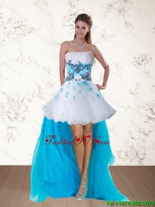 2015 Pretty Multi Color Strapless Prom Dresses with Embroidery and Beading