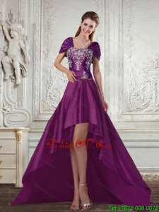 Dark Purple High Low Strapless Embroidery Prom Dresses for 2015 Spring