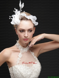 Pure White Flower Bridal Net With Feather Women Fascinators