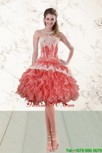 2015 Elegant Ruffled Strapless Prom Gown in Watermelon