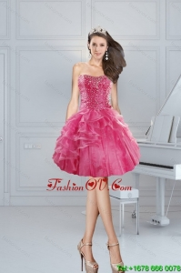 2015 Gorgeous Pink Sweetheart Prom Dresses with Beading and Ruffles