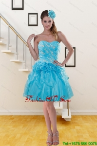 2015 Pretty Sweetheart Aqua Blue Prom Dresses with Beading
