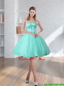 2015 Spring Turquoise Sweetheart Prom Dresses with Embroidery