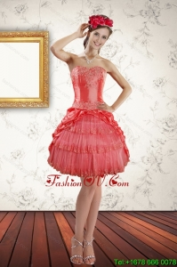 2015 Strapless Coral Red Prom Gown with Ruffled Layers