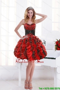 2015 Unique Sweetheart Beading and Ruffles Prom Dresses with Appliques