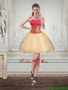 Champagne Strapless Multi Color Short Prom Dresses with Beading and Embroidery