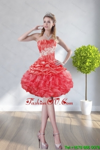 2015 Fashionable Strapless Watermelon Red Prom Dresses With Appliques and Ruffles
