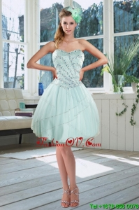Beautiful Light Blue Sweetheart Short Prom Dresses with Beading