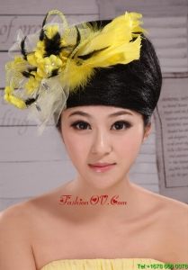 Fashionable Yellow and Black Feather Tulle Women Fascinators