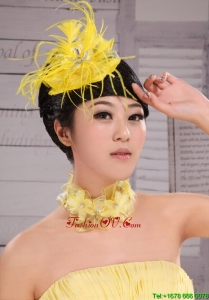 Pretty Yellow Beading Feather Flower Women Fascinators For Party