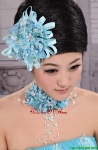Tulle Aqua Blue Imitation Pearls and Flowers Decorate For Party In 2013 New York