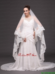 Lace Appliques One-tier Cathedral Tulle Popular Wedding Veil