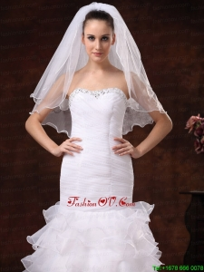 Tulle Ribbon Edge Bridal Veil For Wedding