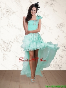 2015 Apple Green One Shoulder Cheap Prom Dresses with Embroidery and Hand Made Flower