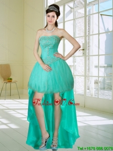 Apple Green Strapess Cheap Prom Dresses with Embroidery and Beading