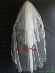 Beading Decorate Tulle Three Layers Graceful Wedding Veil
