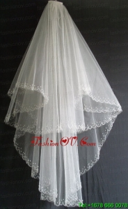 Embroidery and Beading Decorate Tulle Two Layers Wedding Veils