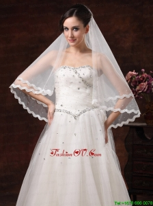 Graceful Pearl Trim Edge Organza Wedding Veils