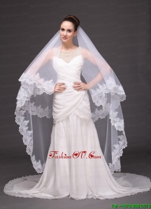 Lace Appliques Two-tier Tulle Drop Veil For Wedding