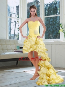 Light Yellow Sweetheart Cheap Prom Dress with Beading and Ruffled Layers