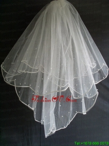 Little Pearl Decorate Tulle Wedding Veil