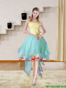 Multi Color Strapless High Low 2015 Cheap Prom Gown with Bowknot