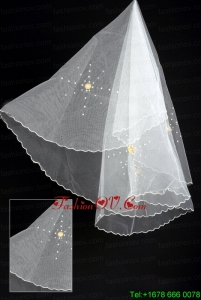 Organza Imitation Pearls Bridal Veil
