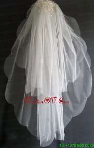 Pearl Decorate Beautiful Tulle Wedding Veil