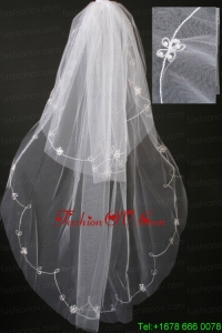 Pearl Trim Edge Gorgeous Tulle Bridal Veil