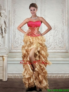 Unique Strapless Multi Cheap Color Prom Dresses with Beading and Embroidery