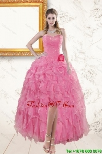 2015 Rose Pink Sweetheart Cheap Prom Dresses with Beading and Ruffles