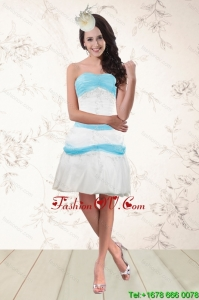Cheap White and Baby Blue Strapless Cheap Prom Dresses for 2015